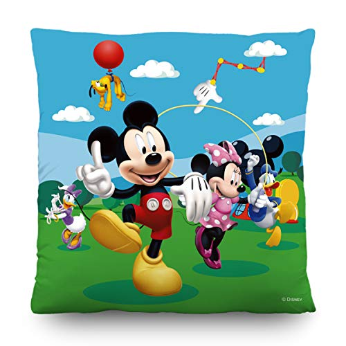 AG Design Disney Micky Maus, Deko Kissen, 40 x 40 cm, Zweiseitig, Polyester, Mehrfarbig