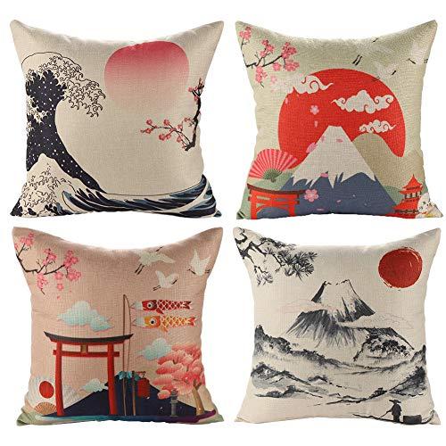 JOTOM Kissenbezug 45 x 45 cm Baumwolle Leinen Kissenhülle Taille Wurf Kopfkissenbezug für Hause Sofa, Schlafzimmer Dekoration, 4 Stück Set-Japanese Style B