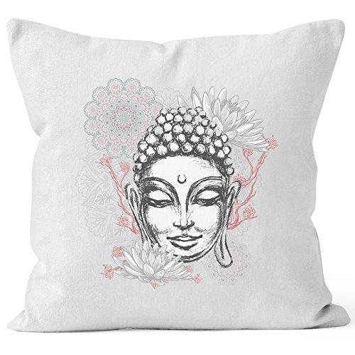 Autiga Kissenbezug Buddha Buddha-Kopf Mandala Zen Yoga Meditation Deko weiß Unisize