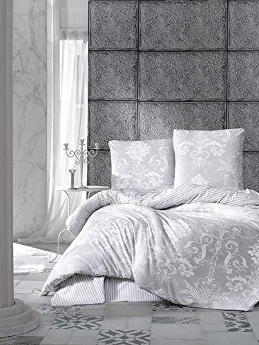 Bettwäsche 135x200 cm. Grau, 100% Baumwolle/Renforcé, 2 teilig set Wende Bettbezug aus Baumwolle mit Weiß Barock Muster, Verdeckter Reißverschluss, 1 mal Kissenbezug 80x80 cm Model: Alone V1