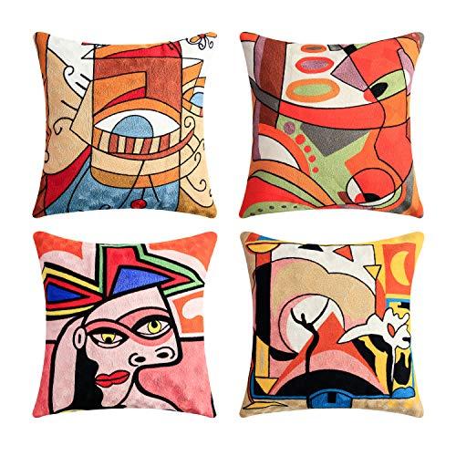 Topfinel Kissenbezüge mit Stickerei in Baumwolle Picasso Design Dekokissen Kissenhülle 4er Set 45x45cm bunt