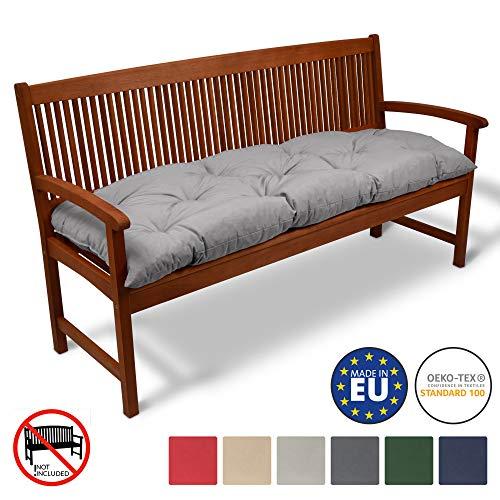 Beautissu Bankauflage Flair BK ca.150x50x10 cm Bequeme Polster Garten-Bank Auflage Sitzauflage Bank in Hellgrau erhältlich