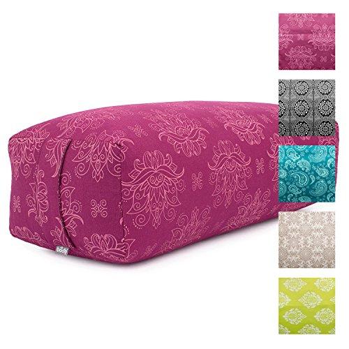 "Yoga Bolster SALAMBA""Lotus"", Maharaja Collection, Farbe berry, rechteckig, Bezug aus Baumwolle abnehmbar, Dinkel-Füllung, Yoga Zubehör für Restorative Asanas und Yin Yoga"