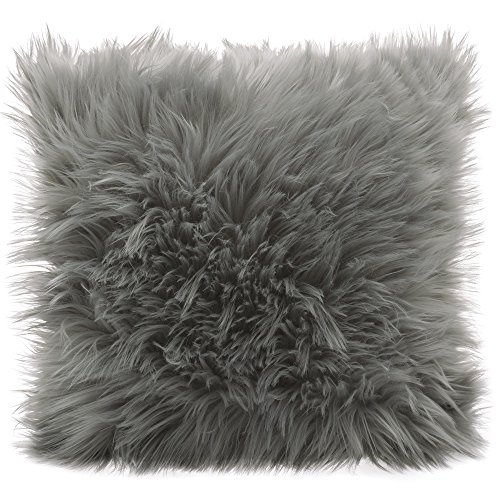 CelinaTex Cuddly Dekokissen 60 x 60 cm grau Langhaar Zierkissen dekoratives Fellimitat Nicki Sofakissen Kunstfell Kissen