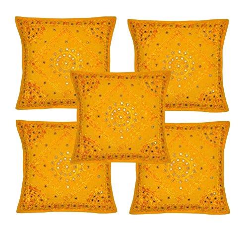 Rajasthali Indischen ethnischen Handgefertigtes Kissen mit Stickerei & Spiegel Arbeit 5 Stück, 43 X 43 Cm Cm gelb