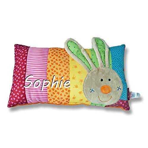 Sigikid Babykissen mit Namen bestickt Kissen 33x18 cm Geschenk zur Taufe Geburt (Rainbow Rabbit)