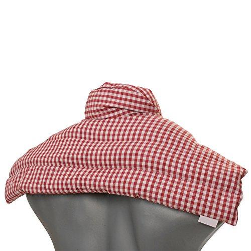 Kirschkernkissen Schulter & Nackenkissen mit Kragen | Bio-Stoff rot-weiß | Gute Wärme für den Nacken | Eine Alternative zum Nackenhörnchen