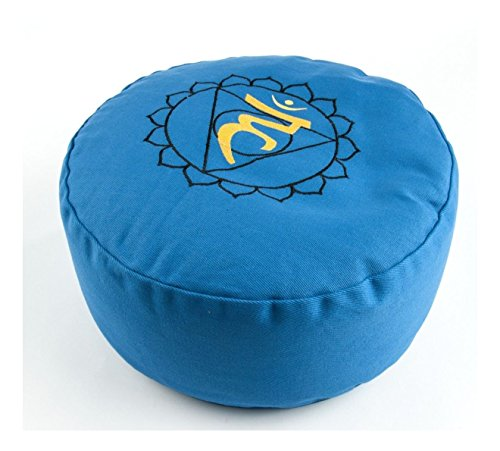 Yogakissen Halschakra Kehlchakra Vissudha Chakra Meditationskissen Blau Rund 36 cm Hoch 15 cm | Waschbarer Bezug aus Baumwolle | Yoga Sitzkissen Meditation | Esoterik Geschenke günstig kaufen
