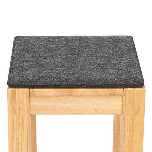 FILU Sitzkissen aus Filz 2er-Pack Dunkelgrau eckig (Farbe und Form wählbar) 35 x 35 cm – Sitzkissen für drinnen und draußen, Deko für jeden Stuhl im Wohnzimmer oder Esszimmer, Gartenstuhl/Balkonstuhl