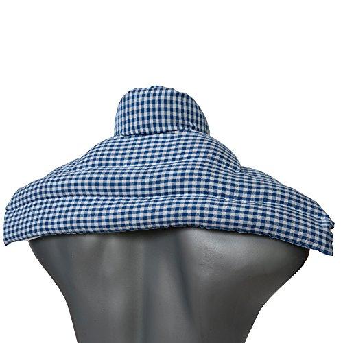 Kirschkernkissen Schulter & Nackenkissen mit Kragen. Wärmekissen Nacken für Mikrowelle (Farbe: blau-weiß, Kirschkerne)