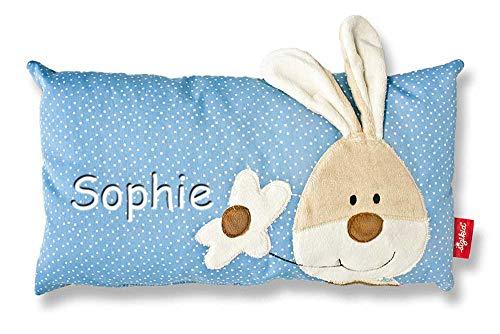 Sigikid Babykissen mit Namen bestickt Kissen 33x18 cm Geschenk zur Taufe Geburt (Semmel Bunny)
