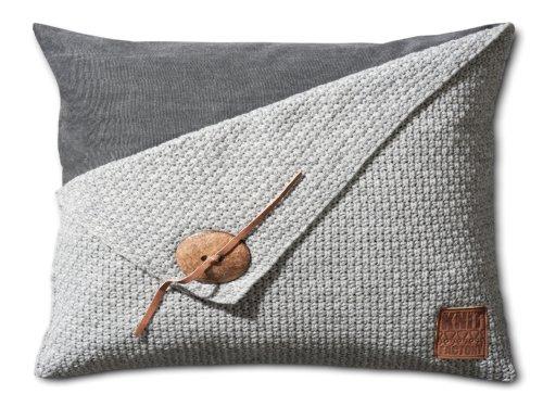 Knit Factory Dekokissen Strickkissen Reiskorn / 60 x 40 cm/Grau (mit Füllung)