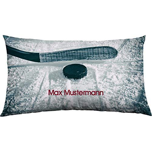 Manutextur Kissen mit Namen - Motiv Eishockey - viele Motive - Kissenhülle inklusive Füllung - Größe 30x50 cm - personalisiert - persönliches Geschenk mit Wunsch-Motiv und Wunsch-Name