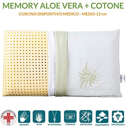Evergreenweb ❤️ Angebot! 1 Kissen 40x80 Hoch 12 cm 100% Memory Foam, Doppelbezug aus Aloe Vera und Baumwolle, herausnehmbar, für Halswirbelsäulenschmerzen, Medizinischem Gerät