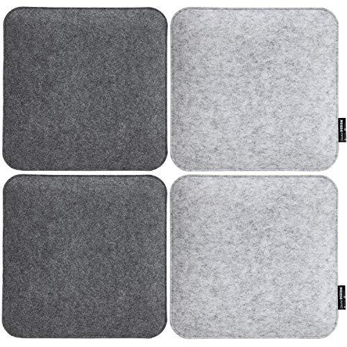 DuneDesign 4 Filz Sitzkissen Eckig 35x35x30cm Stuhlkissen Set Sitzauflage Weich 2-farbig Grau
