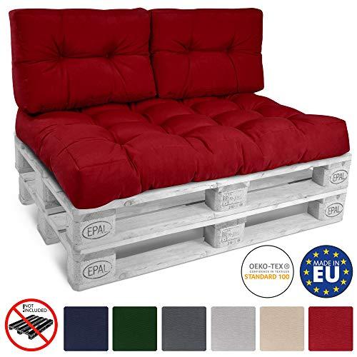Beautissu Palettenkissen ECO Style 2er Set Rückenkissen 120x40x10-20 cm Outdoor Palettenauflage Palettenpolster mit Oeko-Tex in Rot