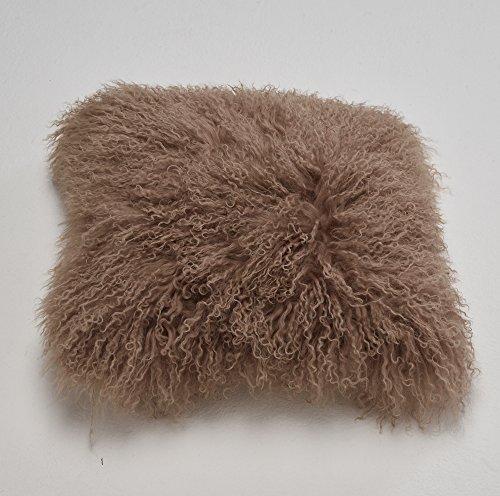 Naturally Sheepskins Echter 100% natürliches mongolisches Lammfell Kissenbezug, 40 x 40 cm, Mokka