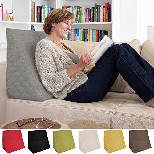 Sabeatex® Rückenkissen, Keilkissen für Couch und Sofa, Lesekissen für bequemes Sitzen. 5 Unifarben für trendiges Wohndesign. Louge-oder Palettenkissen Größe 60 cm x 50 cm x 30 cm (grau)