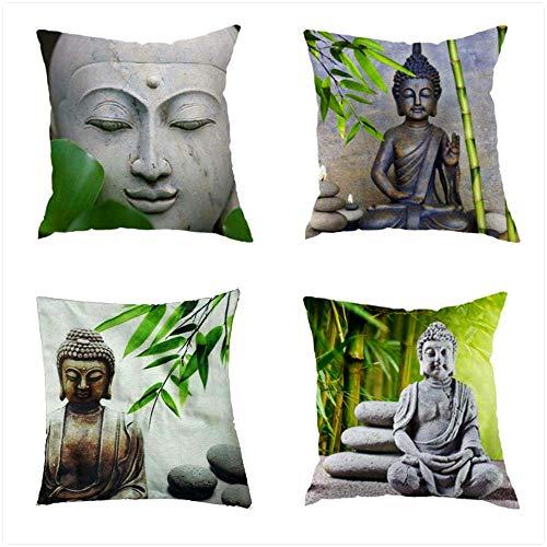 """Puurbol 4pcs Buddha Bambus Zierkissenbezüge Kissenbezug Leinen 18""""x18""""/45x45cm Schlafsaal-Bett-Sofa-Dekor"""