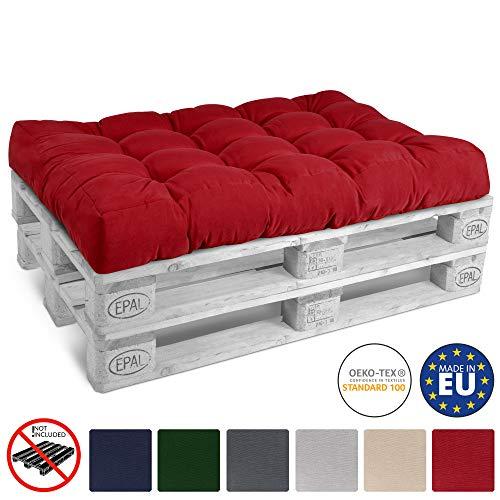 Beautissu Palettenkissen Eco Style Sitzkissen 120x80x15 cm Outdoor Palettenauflage Palettenpolster mit Oeko-Tex in Rot