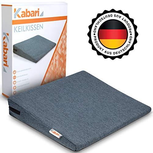 KABARI ® Keilkissen - Sitzkissen mit fusselabweisendem Bezug - 100% Baumwollbezug - Waschbares und atmungsaktives Material (Grau) - Sitzkeil