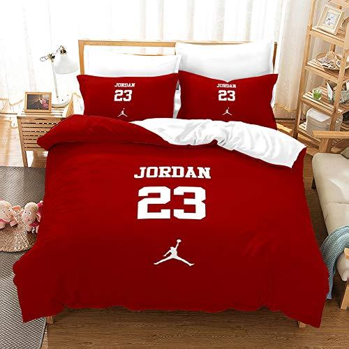 ACJIA Sport Bettwäsche-Sets, 3D-Buchstaben Sports Bettbezug-Set 3 Stück (1 Bettbezug 2 Kissen-) Tröster Abdeckung für Basketball-Fans, Rot,135 * 200cm