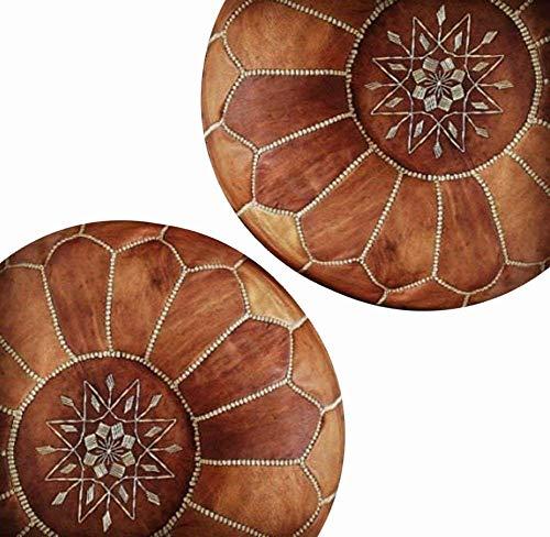 Set von 2 Amazing Marokkanischer Pouf, hellbraun Farbe, beste bieten, Bettkästen poffes, Fußhocker Puffs, 100% handgefertigt Leder Poof, Magic Ihre Wohnzimmer. | Lieferung ungefüllt Modern braun