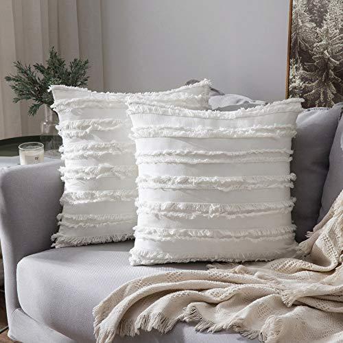 MIULEE 2er Set Dekorative Kissenbezug mit Tassel Fransen Dekokissen Boho Super Weich Kissenbezüge Quaste Decor Kissenhülle für Sofa Couch Schlafzimmer Wohnzimmer 18X18inch 45x45cm Weiß