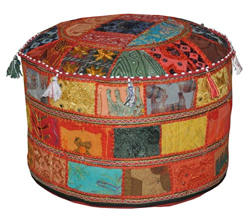 Marubhumi Traditionelle Dekorative osmanischen Komfortable Bodenkissen Hocker mit Verzierung mit Stickerei & Patchwork, 58 x 33 cm
