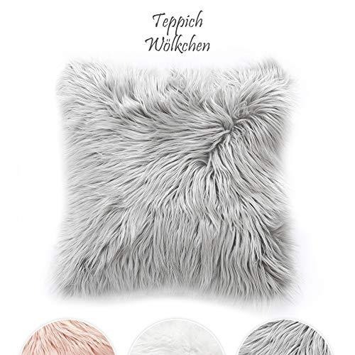 Teppich Wölkchen Kissen Kunstfell Schaffell Lammfell | Mit herausnehmbarer Füllung | Wohnzimmer Schlafzimmer Kinderzimmer | Für Couch Stuhl Sofa (Grau - 45 x 45 cm)