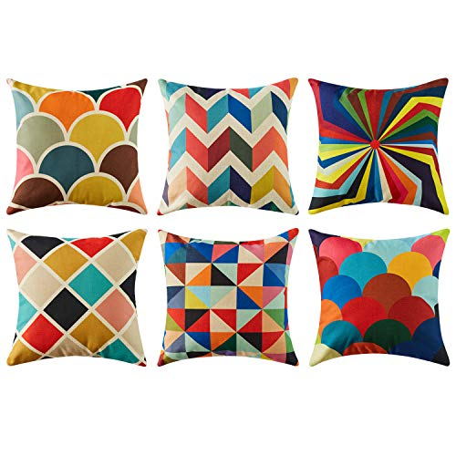 Topfinel Kissenbezüge in Baumwoll-Leinenoptik für Sofa Dekokissenhülle Haus Zimmer Auto Deko 6er Set 45 x 45 cm Serie Muster