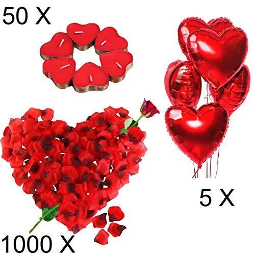 Jonami Romantische Kerzen Rote Teelichter und Rosenblätter, Romantisch Deko Set,50 Teelichter Herzform,1000 Seide Rote Rosenblüten,5 Rote Herzförmige Folienballons Dekoration für Valentinstag Deko