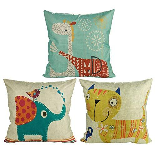 Luxbon 3 Stück Cartoon Elefant Katze Giraffe Muster Kissenbezug Lendenkissen Wurfkissenbezug Hause Auto Cafe Kindertag Deko 18 x 18 ''