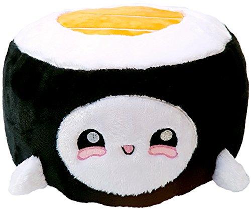 moodrush® Sushi Maki Kissen (Orange) / Plüsch Sushirolle | alle Elemente aufgestickt (Nicht Bedruckt!) | waschbar | ca. 30x22x22 cm