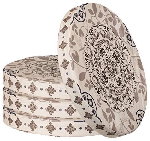 Sitzkissen 4er-Set im Ornament Design Rund Stuhlkissen Sitzpolster Bodenkissen Größe: ca. Ø 40 cm x 4 cm - Beige
