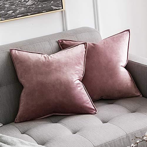 MIULEE 2er Set SAMT Kissenbezug Kissenhülle Dekorative Dekokissen mit Verstecktem Reißverschluss Sofa Schlafzimmer 18x 18 Inch 45 x 45 cm 2er Set Marmelade