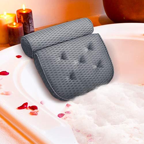 ESSORT Badewannenkissen,4D Air Mesh Technologie Komfort badewanne kopfkissen mit 5 Saugnäpfen Die verbesserte Version ist weicher und atmungsaktiver badewanne nackenpolste für Home Spa Whirlpools Grau