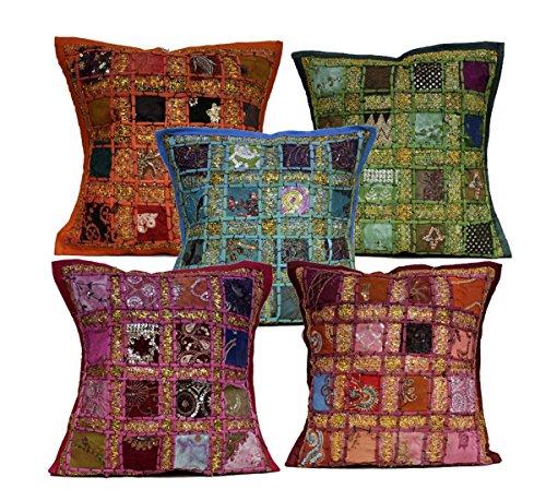 Kissenbezüge mit Pailletten, Patchwork-Stickerei, Sari, 40,6 x 40,6 cm, 5 Stück