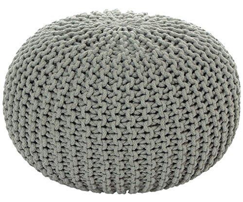 MAB Sitzpuff Sitzhocker Bodenkissen ver. Farben Ø 55 cm Baumwolle handgeknüpft Hellgrau (HG)
