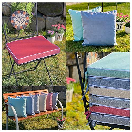 heimtexland ® Outdoorkissen Sitzkissen Schmutz- und Wasserabweisend Outdoor Garten Polster Stuhlkissen Lotus Effekt 40x40 Sand Typ676