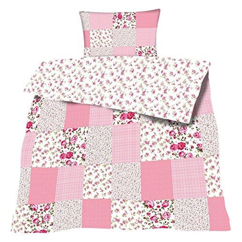 Unbekannt Bettwäsche Baumwolle Patchwork Print 2 teilig Garnitur 135x200 80x80 cm mit Reißverschluß #1359 (rosa)