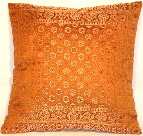 Kashmir Handicrafts Indische Seide Deko Kissenbezüge- 40 cm x 40 cm (Hell Braun), Extravaganten Design für Sofa & Bett Dekokissen, Kissenhülle aus Indien.