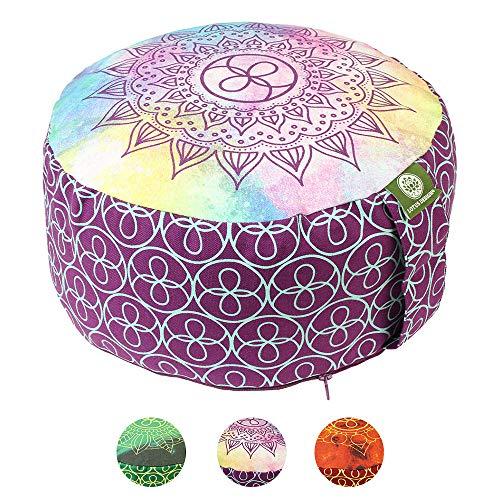 Lotus Design Meditationskissen/Yogakissen rund, Chakra Style, 15 cm hoch, Bezug 100% Baumwolle waschbar, Yoga-Sitzkissen mit Buchweizenschalen, sozial und fair