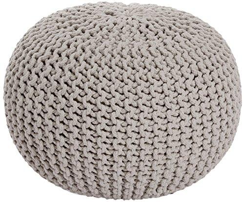ANTARRIS Sitzpuff Sitzhocker Bodenkissen Ottonmane ver. Farben Ø 55 cm B 40cm Neues Modell: extra hoch Premium Baumwolle handgeknüpft (Greige (BE))