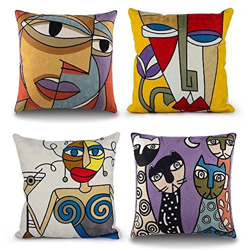 Topfinel Kissenbezüge mit Stickerei in Baumwolle Picasso Design Dekokissen Kissenhülle 4er Set 45x45cm Gesicht und Katze